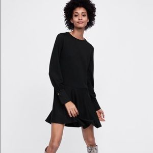 New with tags Zara basic black long sleeve dress L